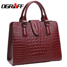 100% Genuine Leather Ladies OGRAFF Hand Bag  Crocodile Pattern  Ricly Crafted
