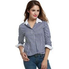 Women Stand Neck Button Down Shirts Long Sleeve Striped Slim Casual OL Tops OK02