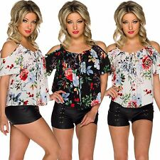 Women'S Blouse Tunic Top Flower Print Cut out Shoulder S 34 36 38 Party Club
