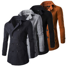Men's Stand Collar Double Breasted Slim Fit Casual Trench Overcoat Coat Jackets