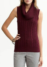 NEW Banana Republic Wool Cashmere Cable Sleeveless Cowlneck Sweater Red S M $69