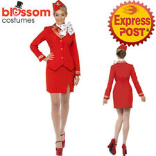 CA314 Red Trolley Dolly Virgin Air Hostess Flight Attendant Fancy Dress Costume