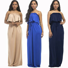 Women Strapless Ruffle Long Maxi Skirt Evening Cocktail Party Dresses Plus Size