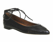 Womens Office Double Trouble Pointed Weave Lace Up Pump BLACK LEATHER Flats