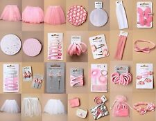 BALLET ACCESSORIES, HAIR GRIP, TUTU, BUN NET, ELASTIC, BAG, PURSE; PINK, WHITE