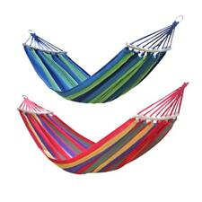 Outdoor 2 Person Cotton Rope Swing Fabric Camping Hanging Hammock Canvas Bed NEW