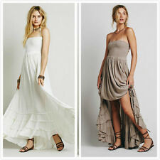 Vintage Hippie Boho Halter Neck Maxi Cocktail Party backless Long Maxi dress CA