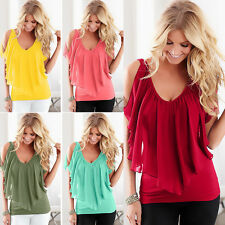 Summer Women's V Neck T-Shirt Batwing Sleeveless Loose Tops Casual Blouse NEW