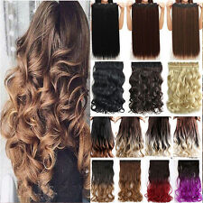 Real Thick One Piece 1PC Clip in Full Head Hair Extensions Blonde Brown Ombre TY