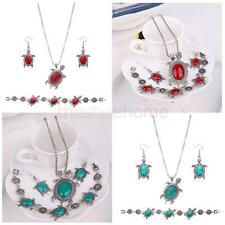 MagiDeal Silver Engraved Turtle Turquoise Necklace Earring Bracelet Jewelry Set
