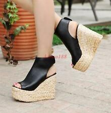 Summer Womens Creeper peep toe high wedge Heel Sandals Platform slingback NEW YH