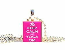 Keep Calm and YOGA OM ohm Scrabble Tile Pendant Necklace Charm OR Keychain~Gift!