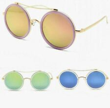 Oversized Round Mirror Lens Women's Fashion Sunglasses 53mm