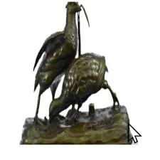 Large Hot Cast Two Love Birds Bronze Sculpture Marble Base Figurine Gift