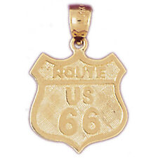 14K or 18K Gold U.S. Route 66 Pendant (Yellow, White or Rose) - GV4852