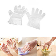 50/100 PK Disposable Plastic Polythene Clear Gloves Food Cleaning Decorating Car
