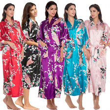 Wedding Bridesmaid Silk Satin Long Kimono Robe Dressing Gown Sleepwear Bathrobe