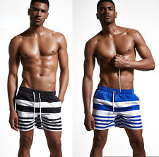 Superbody Stripes Men's Cool Swim Trunks Board Boxer Shorts Swimwear M-2XL