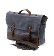 "Mens Canvas Leather Messenger Bag Business Briefcase Shoulder Bag 15"" Laptop Bag"