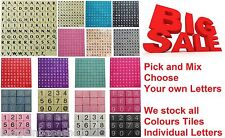 PICK & MIX PLASTIC COLOURED/WOOD SCRABBLE TILES LETTERS NUMBERS / @ from 1-1000