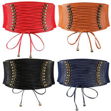 Women Elastic Buckle Wide Waistband Retro Corset Stretch Waist Belt Cinch Decor