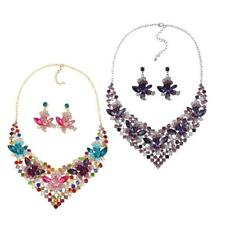Women Sumptuous Crystal Colorful Floral Necklace and Earring Set Bridal Jewelry