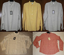 Murano Mens $80 NWT 100% Linen L/S Button Shirt, L Large, White, Various Colors