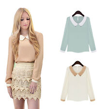 Casual Chiffon Sweet Doll Collar Women Long Sleeve Hot Blouse Fashion