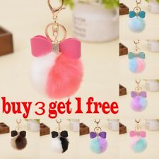 Rabbit Fur Pom-pom Key Chain Bag Charm Fluffy Puff Ball Bow Key Ring Car Pendant