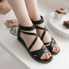 Womens Sandals Leather Med Wedges Heels Solid Strappy Platforms Shoes Nice!!