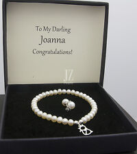 Freshwater Pearl Bracelet with S/Silver Cat Charm and S/Silver Stud Earrings