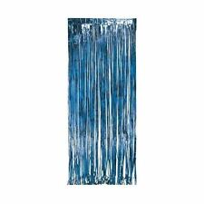 Blue Shimmer Foil Door Curtain Birthday Xmas Curtain Fringe Decoration Party