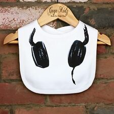 Cotton Baby Bib - Unisex Baby Bib - Baby Headphones - Baby Feeding Time - UK Bib