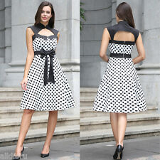 Vintage Women Polka Dot Sleeveless Casual Evening Party Cute Bowknot Dress 2XL