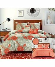 Orange Cream Floral 5 Pc Comforter Shams Pillow Set F/Queen or King