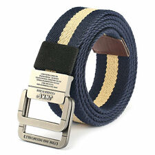 130CM Mens Alloy Buckle Canvas Military Belt Tactical Double Ring Buckle Belts