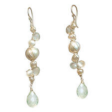 Guana 100 ~Pearls & Crystal Quartz Dangle Earrings with Stone & Metal Choice
