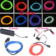 1M-5M Car Party Stage Chasing EL Wire Light Flash Strip Party+ 3V/12V Controller