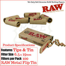 Raw Pre-Rolled Tips Tin - King Size Stash Tin With Pre Roll Roach Tips 1/2/4 & 6