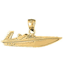 14K Gold Speed Race Boat Pendant (Yellow, White or Rose) - AZ1333-14K