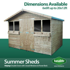 SUMMER SHED GARDEN SHED/SUMMER HOUSE WITH +1FT OVERHANG HIGH QUALITY TIMBER