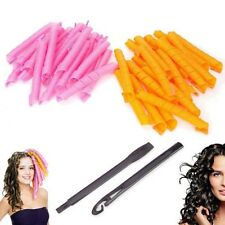 40PCS 50CM DIY Hair Curlers Spiral Circle Magic Styling Ringlets Rollers + Hook