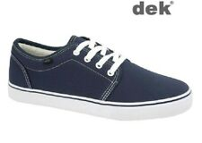Mens Navy Blue Canvas Yachting Shoes Deck Boat Lace-up Rubber Sole Size 6-10 UK