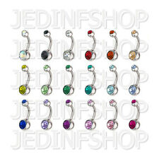 Navel Belly Bar - 1.6mm (14g) - 10mm - Double Gem - Stainless Steel