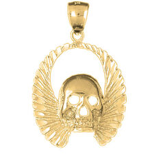 14K Gold Skull With Wings Pendant (Yellow, White or Rose) - AZ5591-14K