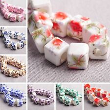 10pcs 10mm Cube Square Porcelain Clay Loose Spacer Ceramic Beads Jewelry Making