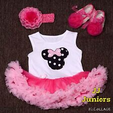 Baby Girl Minnie Mouse 3 Piece Costume Dress Set (One piece, Headband & Shoes)