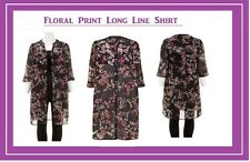 NEW Summer Floral Multi Long Top Shirt Blouse Cover Up SIZE 16 LOOK shop be