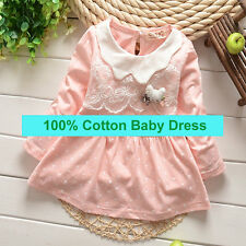 Newborn Baby Clothing Toddler Girl Cotton Dresses Infant Cute Dress  with Lace