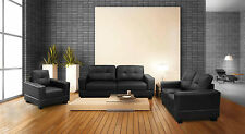 new jerry faux leather 3 + 2 seater sofa settee & armchair in black or brown !